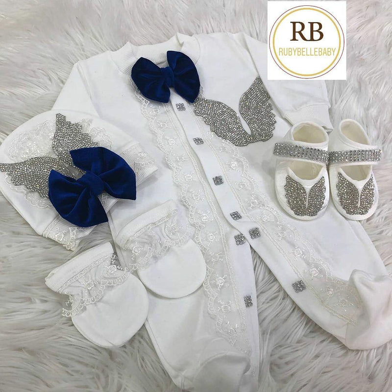 4pcs Cherub Wings Set - Blue - RUBYBELLEBABY