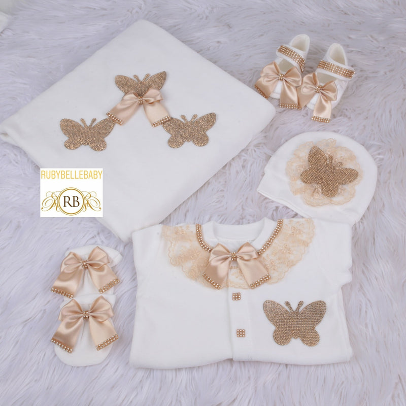 5pcs Butterfly Velvet Set - Gold