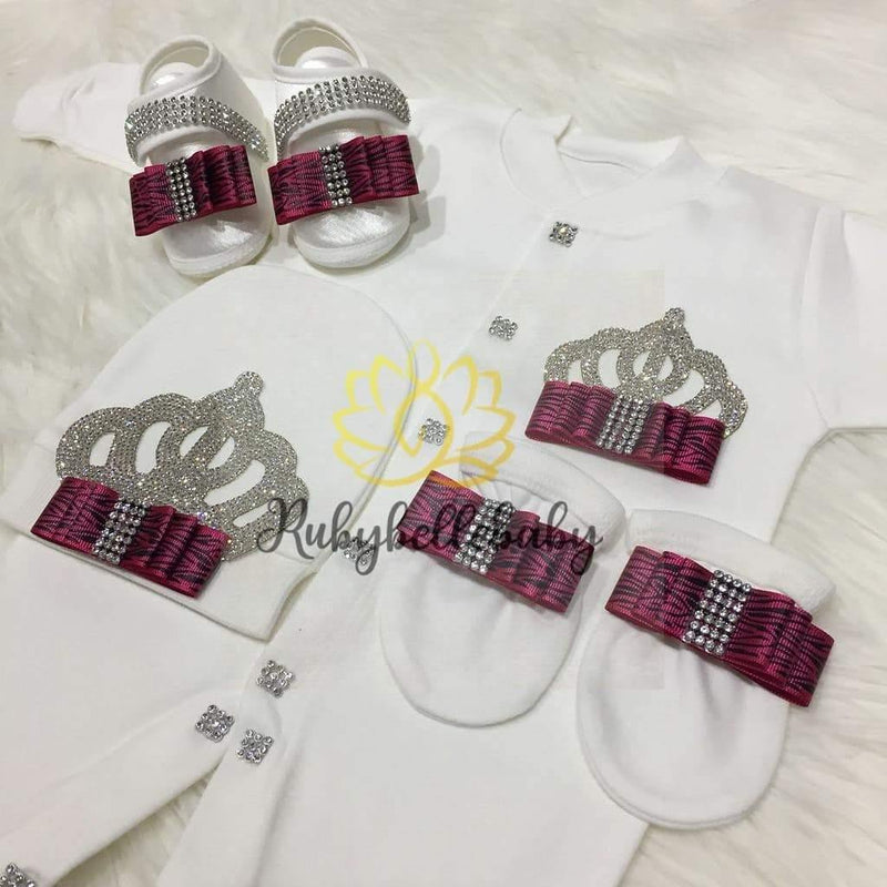 4pcs Bow Princess Set Patterned Pink and Silver - RUBYBELLEBABY