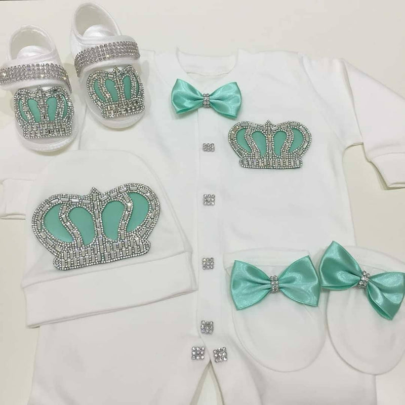 4pcs Prince Set Mint Green and Silver - RUBYBELLEBABY