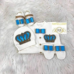 4pcs Prince Square Bow Set Torquoise Blue and Gold - RUBYBELLEBABY