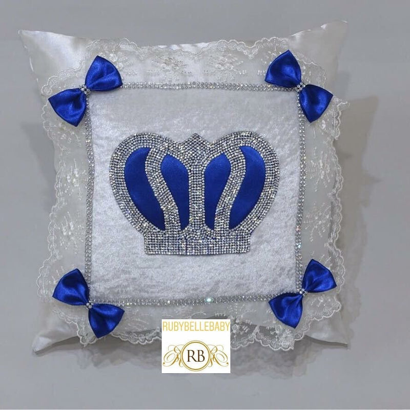 Prince Customisable Crown Pillow - Blue - RUBYBELLEBABY