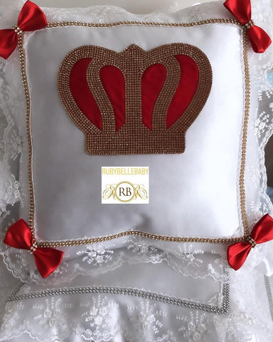 Bling Bling Prince Crown Baby Pillow - Red/Gold