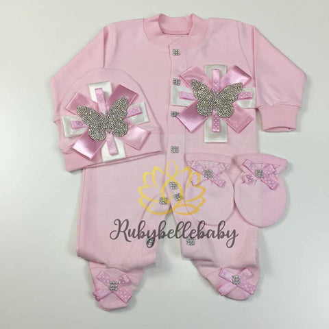 3pcs Butterfly Princess Set - Pink/Silver or Pink/Gold - RUBYBELLEBABY