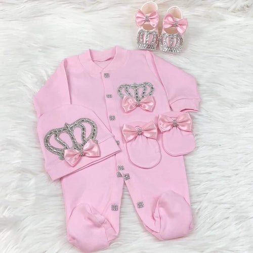 4pcs HRH Crown Set - Pink/Pink - RUBYBELLEBABY