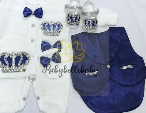 5pcs Baby Prince Tux Set - Navy Blue and Silver/ Navy Blue and Gold - RUBYBELLEBABY