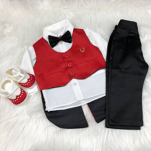 4pcs Mini Tux Set - Red/Black - RUBYBELLEBABY