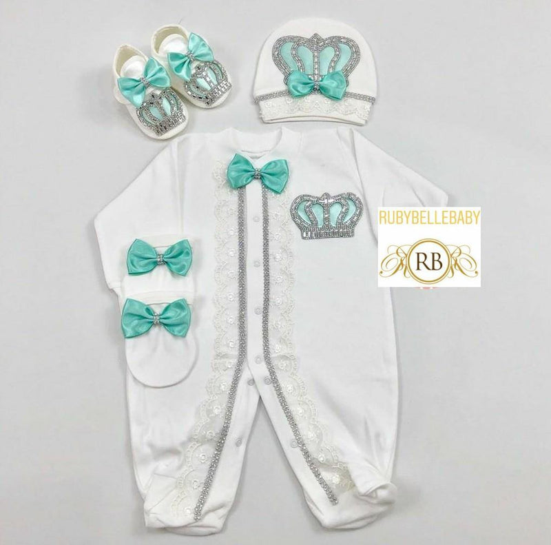 4pcs Laced Prince Set Mint Green and Silver - RUBYBELLEBABY