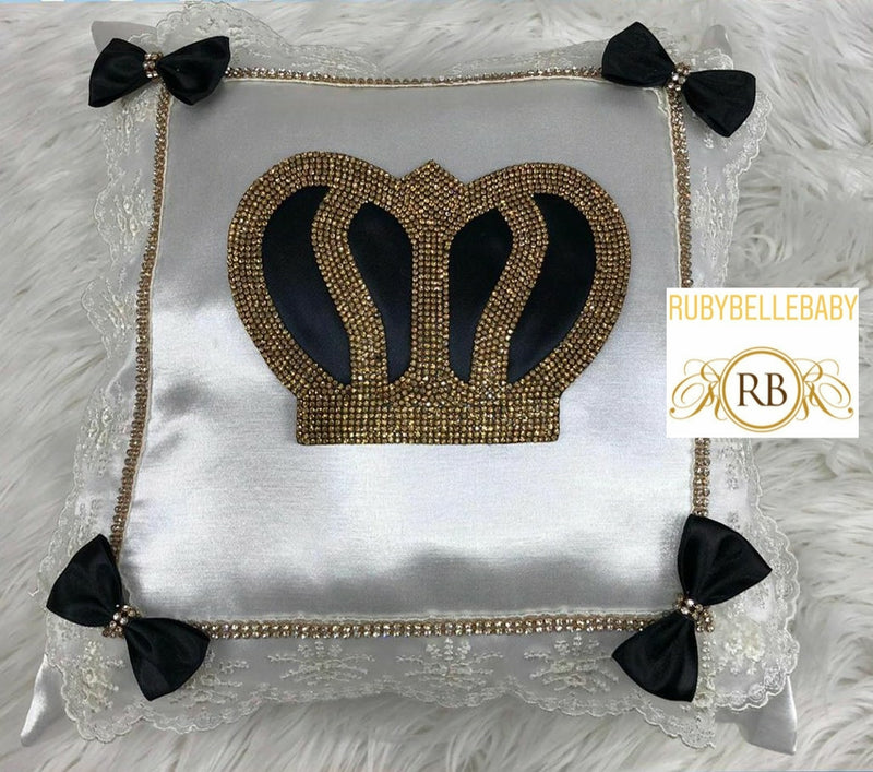 Prince Customisable Crown Pillow - Black - RUBYBELLEBABY