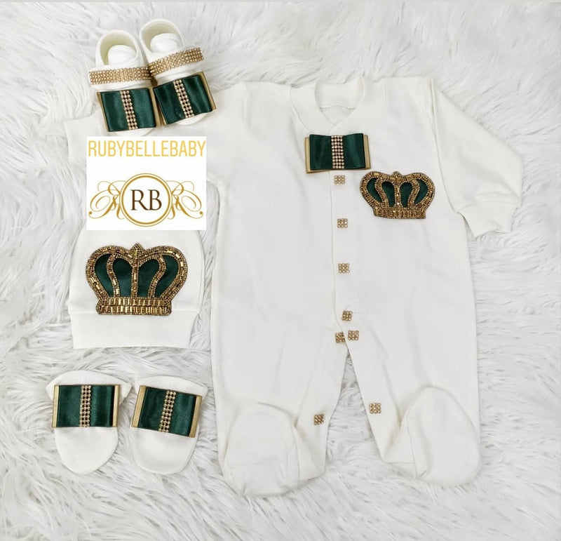 4pcs Prince Square Bow Set Emerald Green and Gold - RUBYBELLEBABY