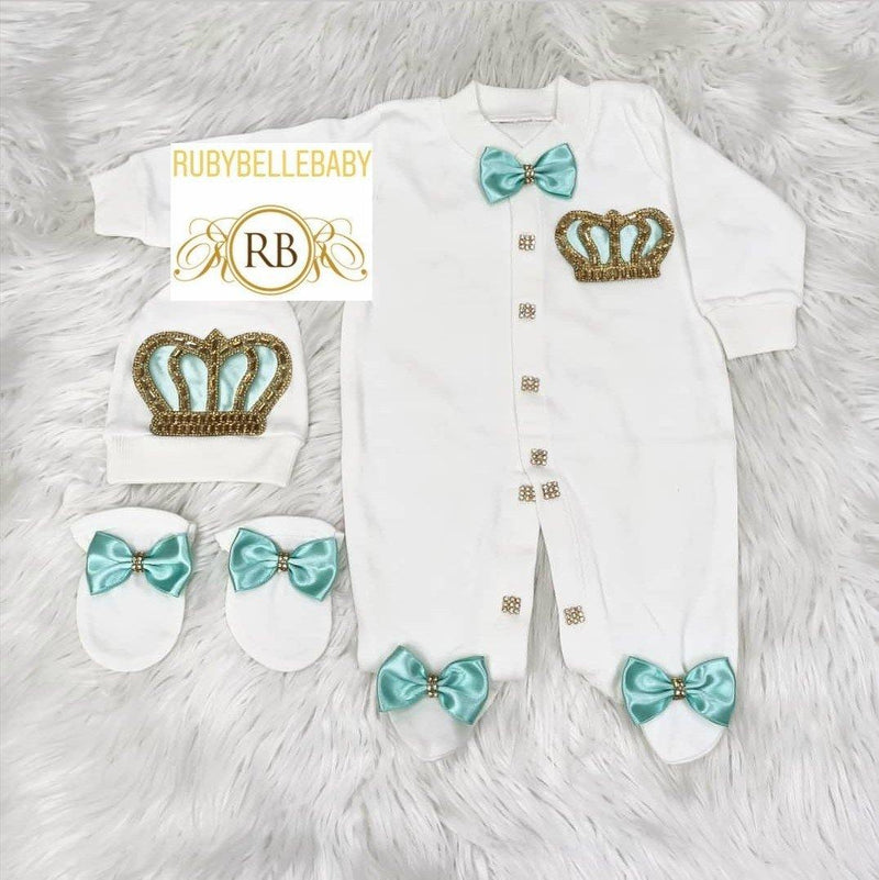 3pcs Prince Set Mint Green and Gold - RUBYBELLEBABY