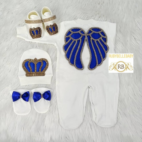 4pcs Angel Wings Prince Set Royal Blue and Gold - RUBYBELLEBABY
