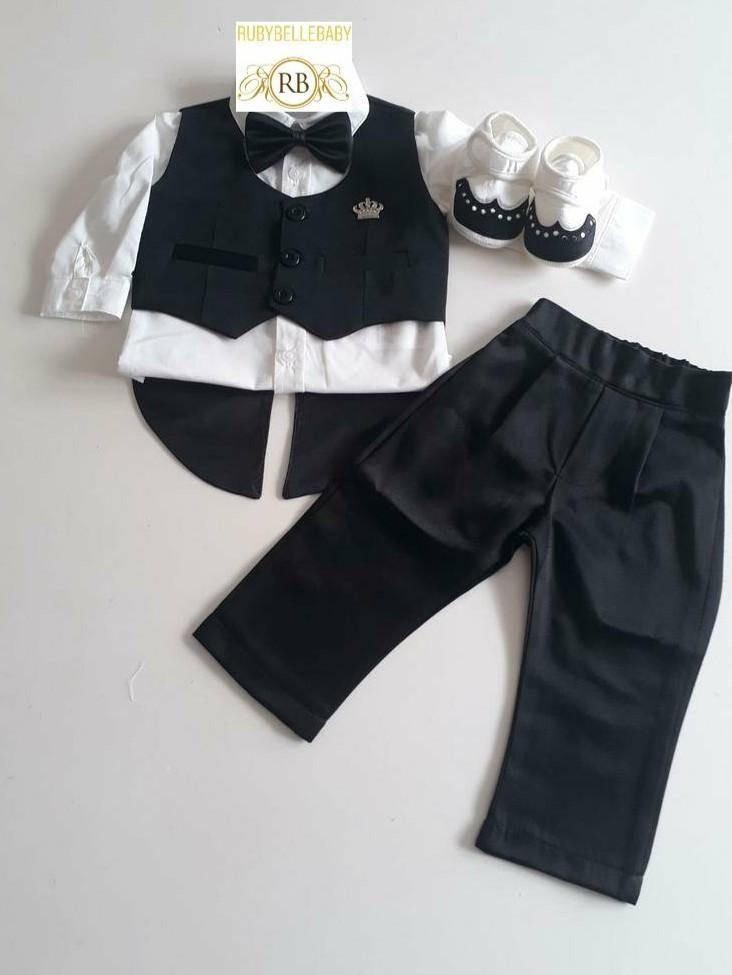 4pcs Mini Tux Set - Black - RUBYBELLEBABY