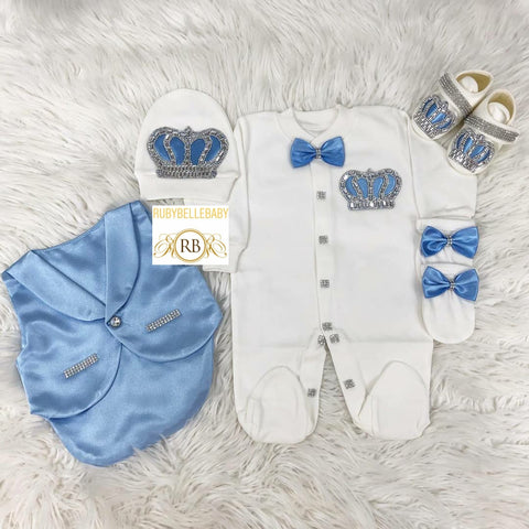 5pcs Baby Prince Tux Set - Light Blue and Silver - RUBYBELLEBABY
