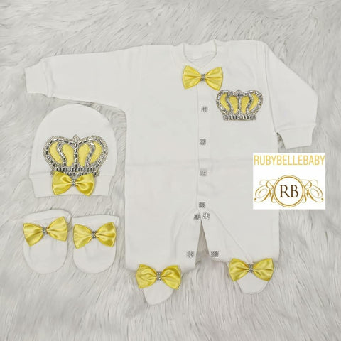 3pcs Prince Set Yellow and Silver - RUBYBELLEBABY