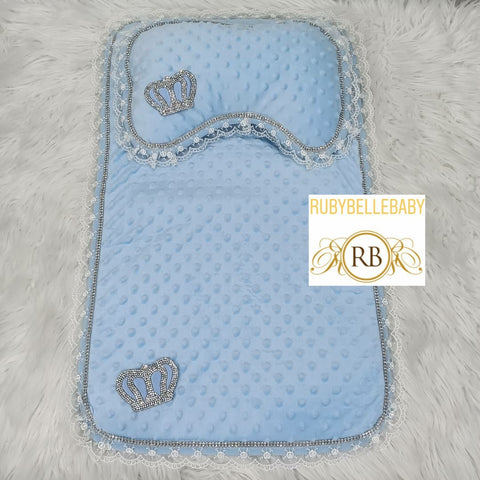 Prince Crown Mat and Pillow - Light Blue - RUBYBELLEBABY