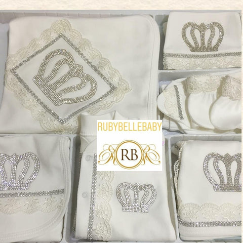 Rubybellebaby 10pcs Laced Prince Set - White