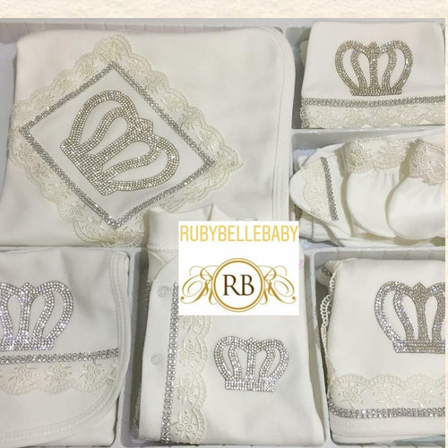 10pcs Royal Crown Set - White - RUBYBELLEBABY