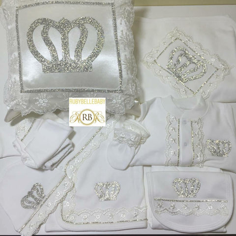 11 pcs Laced Bling Prince Crown Set with Pillow - White