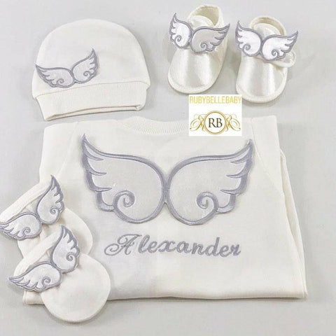 4pcs Angel Wing Embriodery Prince Set Silver - RUBYBELLEBABY