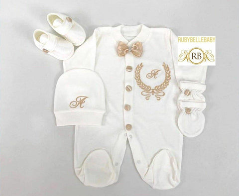 4pcs Initial Embriodery Prince Set Gold - RUBYBELLEBABY