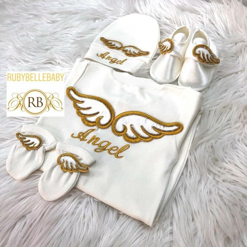 4pcs Angel Wing Embriodery Set Gold - RUBYBELLEBABY