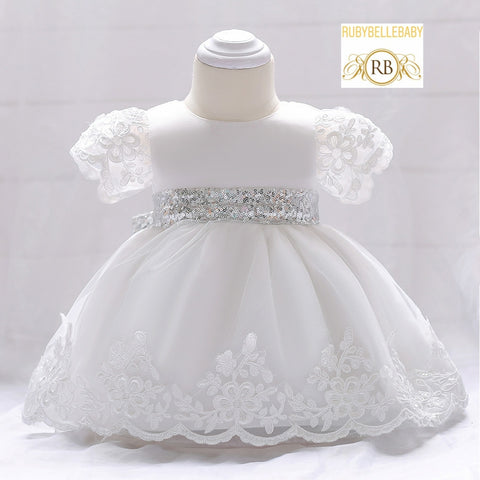 Sequin Band Christening Dress