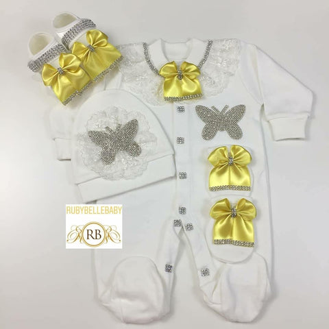 4pcs Butterfly Princess Set Yellow - RUBYBELLEBABY