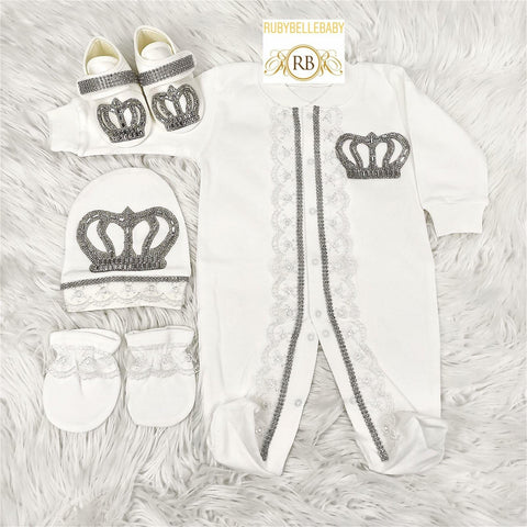 4pcs Laced Prince Set White and Silver - RUBYBELLEBABY