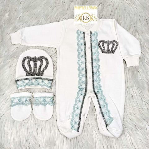 3pcs Laced Prince Set - Mint Green - RUBYBELLEBABY