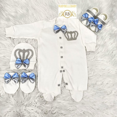 4pcs Double Bow Prince Set Blue and Grey - RUBYBELLEBABY
