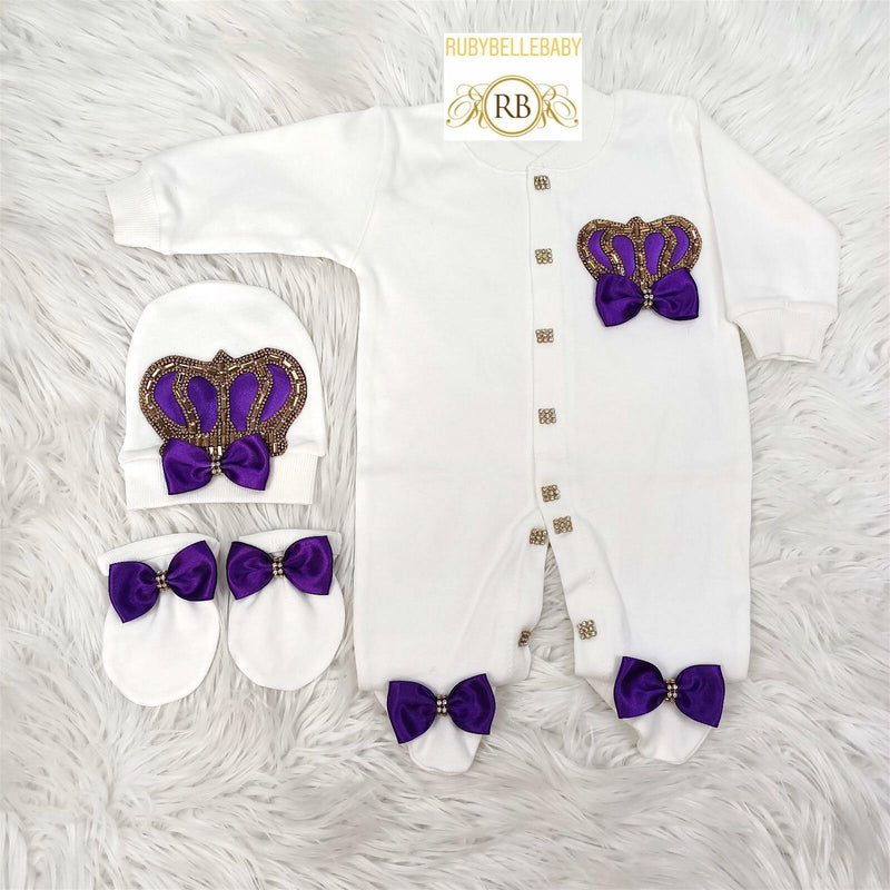 3pcs Princess Set Purple and Gold - RUBYBELLEBABY
