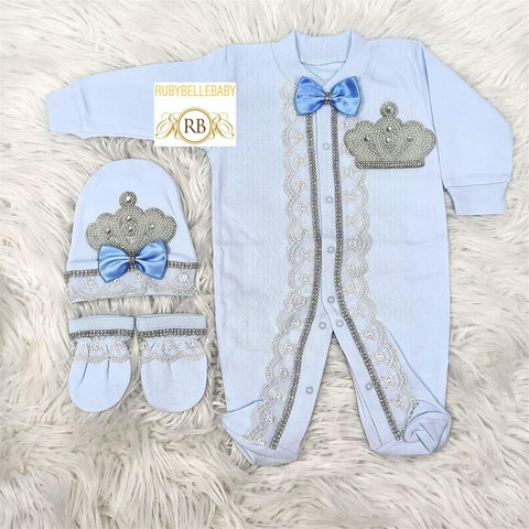 3pcs Laced Prince Set Light - Blue - RUBYBELLEBABY