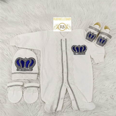 4pcs Laced Prince Set Royal Blue and Silver - RUBYBELLEBABY