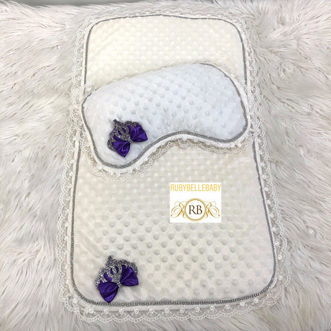 Princess Crown Mat and Pillow - Purple/Silver
