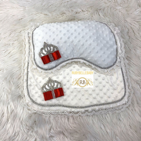 Princess Crown Mat and Pillow - Red and Silver