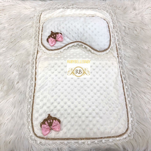 Princess Bow Crown Mat and Pillow - Pink