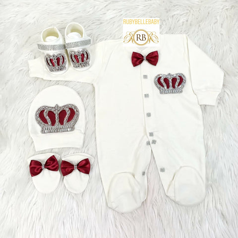 4pcs Prince Set Burgundy and Silver - RUBYBELLEBABY
