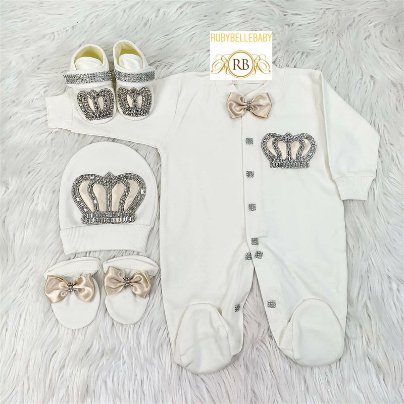 4pcs Prince Set Beige and Silver - RUBYBELLEBABY