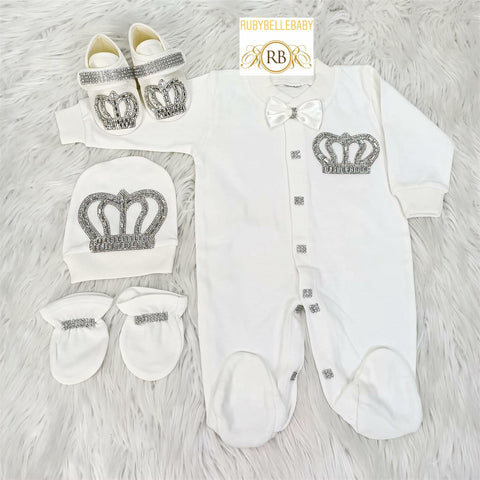 4pcs Prince Set White and Silver - RUBYBELLEBABY