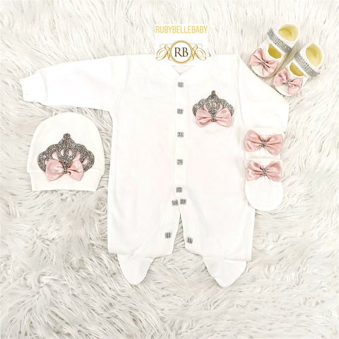 4pcs Princess Set Blush and Silver - RUBYBELLEBABY