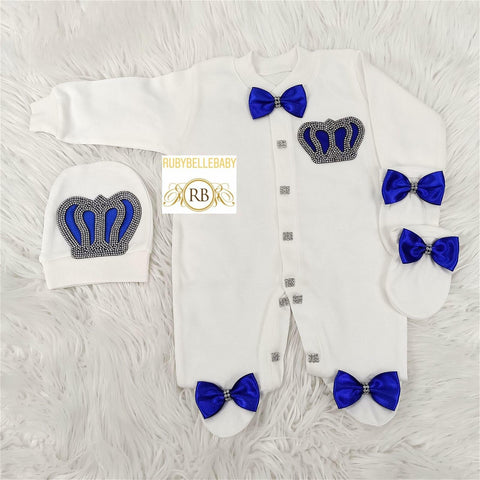 3pcs Prince Set Royal Blue and Silver - RUBYBELLEBABY