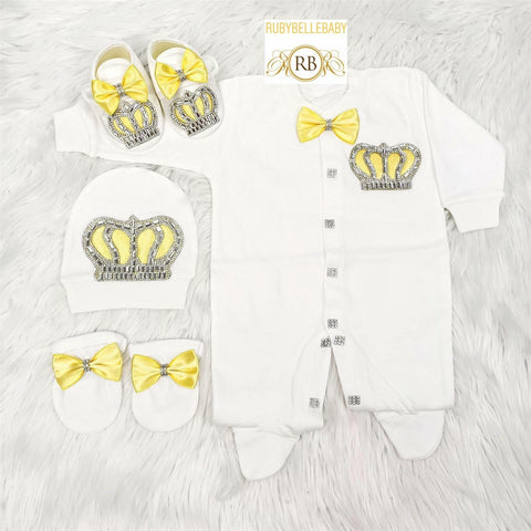 4pcs Prince Set Yellow and Silver - RUBYBELLEBABY