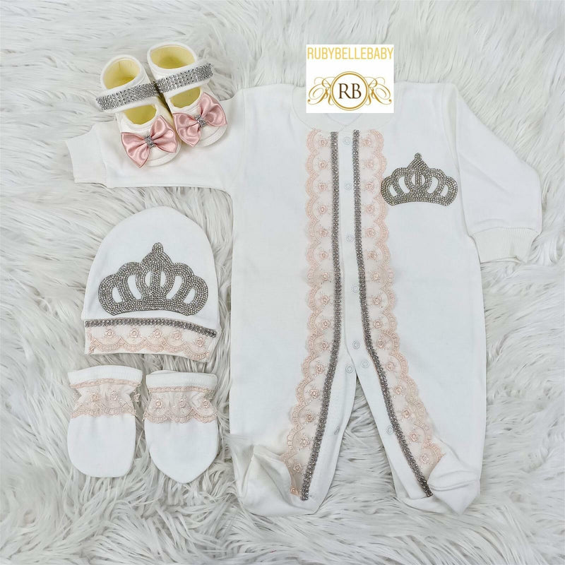 4pcs Laced Princess Set Blush - RUBYBELLEBABY