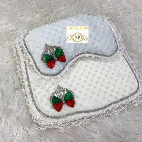 Princess Crown Mat and Pillow - Green and Red