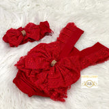 Baby Lace Rompers - Red - RUBYBELLEBABY