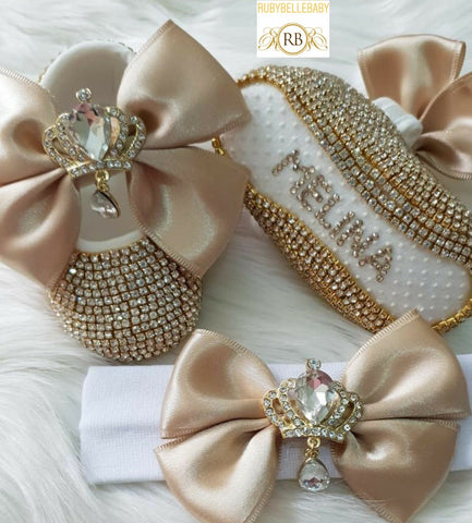Swarvoski Princess Shoe Set - Gold