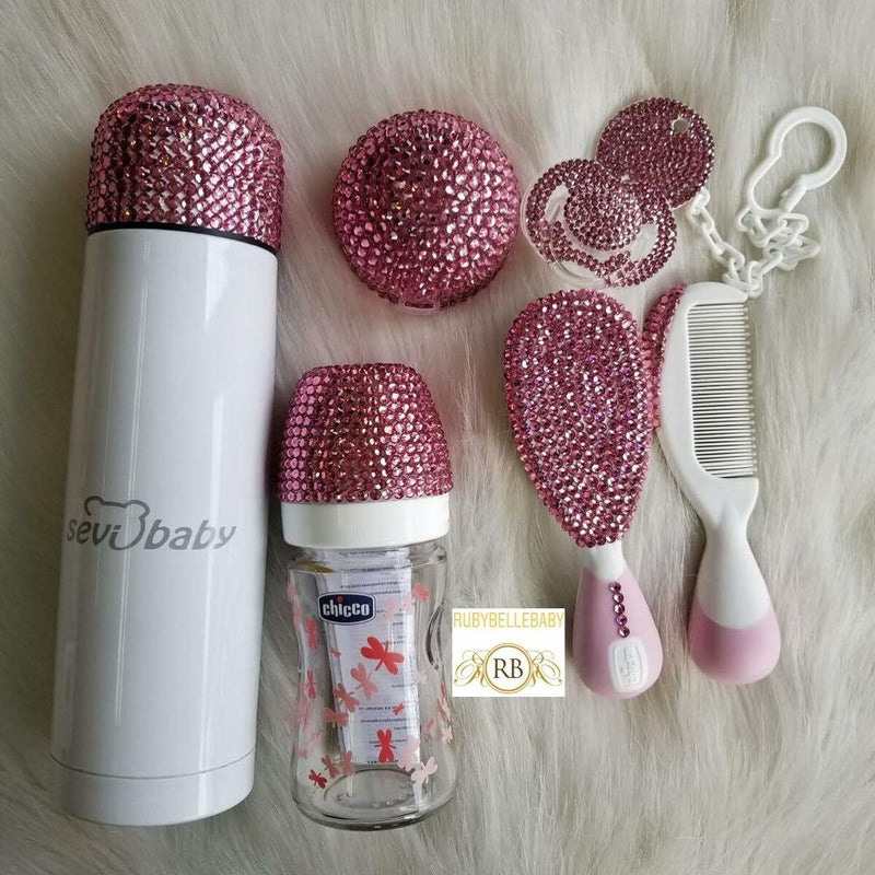 7pcs Bling Thermal Bottle Set - Pink