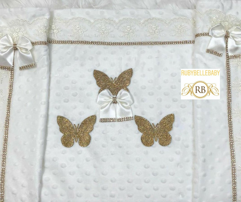 Mink Butterfly Princess Blanket - White