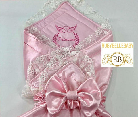 Rubybellebaby Lace Satin Swaddle Blanket with Bling Holder - Pink